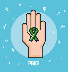 Peace hand green ribbon celebration vector