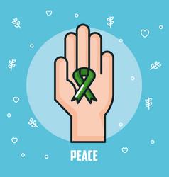Peace hand green ribbon celebration vector