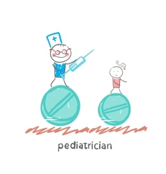 pediatrician pediatrician runs with a syringe vector image