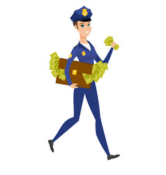 Police woman with briefcase full of money vector