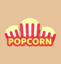 popcorn with striped food pack vector image