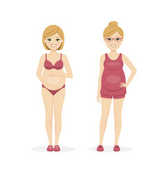Pregnant woman with underwear and summer clothes vector