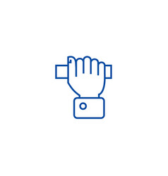 pulling hand line icon concept pulling hand flat vector image