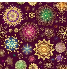 Purple Christmas seamless pattern with snowflakes vector image