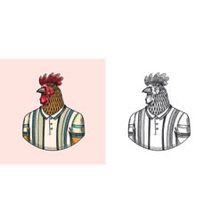 rooster character in a sports t-shirt tennis vector image