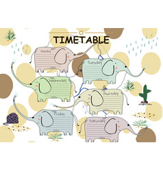 School timetable background for students or pupils vector