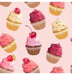 Seamless cupcakes and polka dot vector image