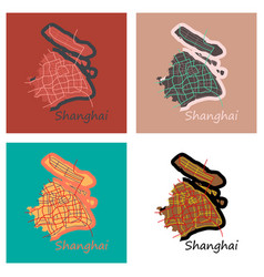 Set of flat detailed shanghai city road network vector