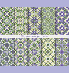 set of ten classic seamless patterns in shades of vector image