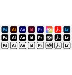 Set popular adobe apps icons vector