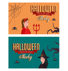 Set poster party halloween with women disguised vector