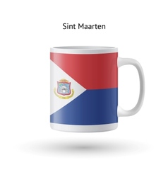 Sint Maarten flag souvenir mug on white background vector