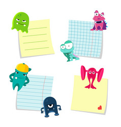 Small notes with shadows set kept by cute vector