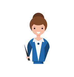 Smiling teacher character with pointer vector