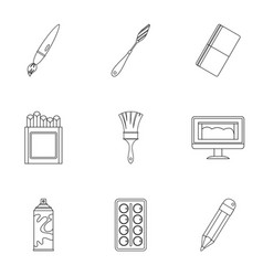 stationery icons set outline style vector image