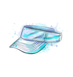 tennis cap visor cap from a splash watercolor vector image