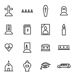 thin line icons - funeral vector image