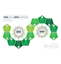 Timeline or infographics with 12 parts vector