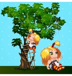 Two girls playing in the Park cartoon characters vector image