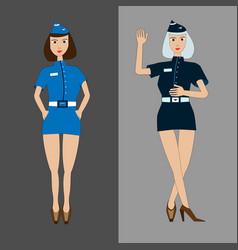 Two girls stewardess in light and dark blue vector