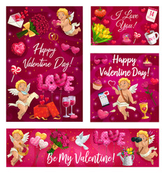 valentines day cupids with greetings gifts vector image