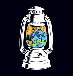 View mountain inside old lamp vector