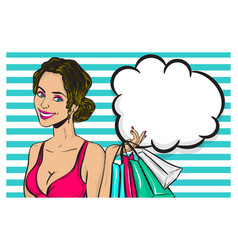 vintage pop art girl shopping wow face vector image