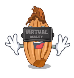 Virtual reality ripe shallot isolated on a mascot vector