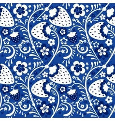 Winter strawberry pattern in Khokhloma style vector