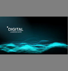 wireframe landscape data technology wave vector image