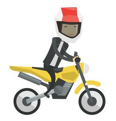 Young asian man riding motorcycle vector
