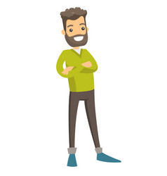 Young caucasian standing with folded arms vector