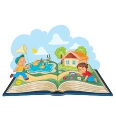 Young children studying nature as an open book vector