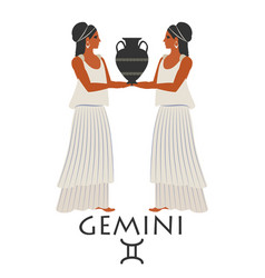 zodiac in the style of ancient greece gemini two vector image