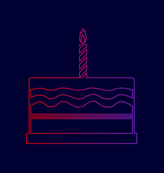 birthday cake sign line icon with vector image