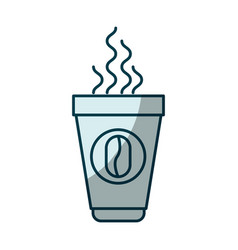 Blue shading silhouette of disposable cup with hot vector