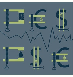 dollar euro and oil barrel in clamp financial vector image