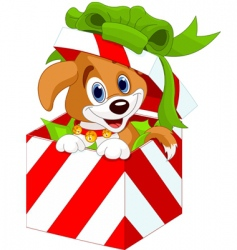 puppy in Christmas gift box vector image