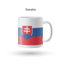 Slovakia flag souvenir mug on white background vector image vector image