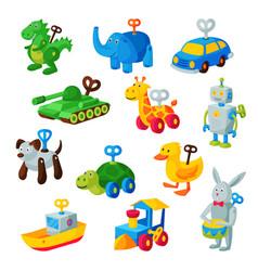 Clockwork toy key mechanic playroom toyshop vector