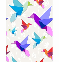 Origami hummingbirds pattern background vector image vector image