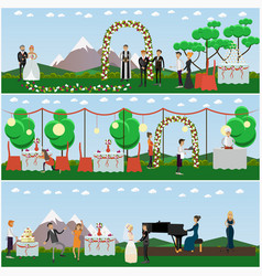 set of wedding posters banners in flat vector image vector image