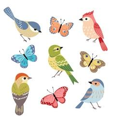 Birds and butterflies vector image vector image