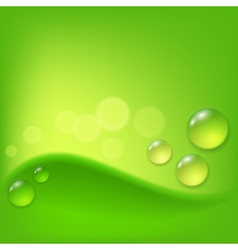 Green abstract background with drop of dew vector image