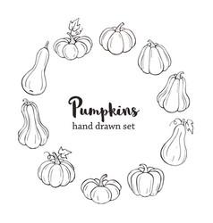 line art pumpkins vector image