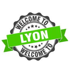 lyon round ribbon seal vector image