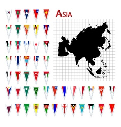 asia flags and map vector image vector image
