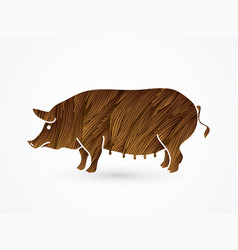 Fat pig standing vector
