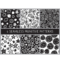 Hand drawn black and white doodle seamless pattern vector image
