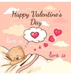 teddy love greeting card vector image